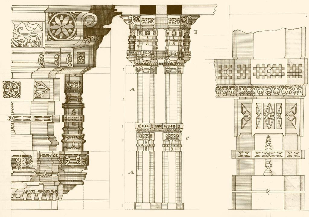 Adalaj Stepwell Column Technical Drawing