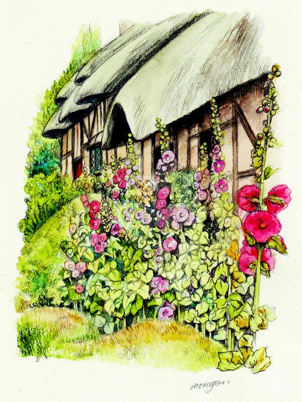 Anne Hathaways Cottage side by morgansartworld