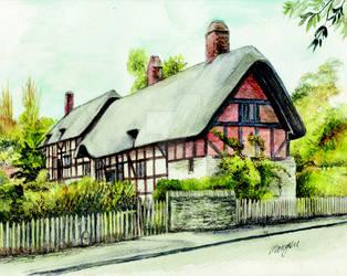 Anne Hathaways cottage front by morgansartworld