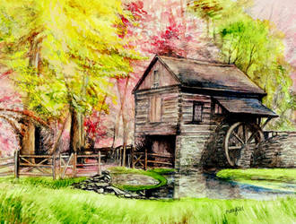Watermill in Pensylvania by morgansartworld