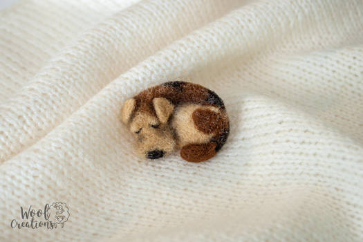 Needle felted brooch with a sleeping dog