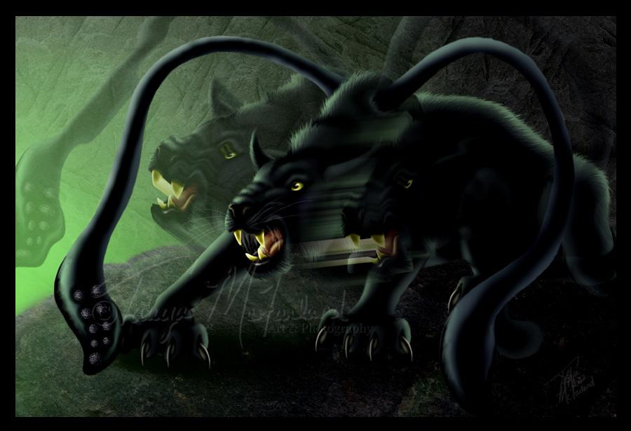 Farlig katt med tentakler