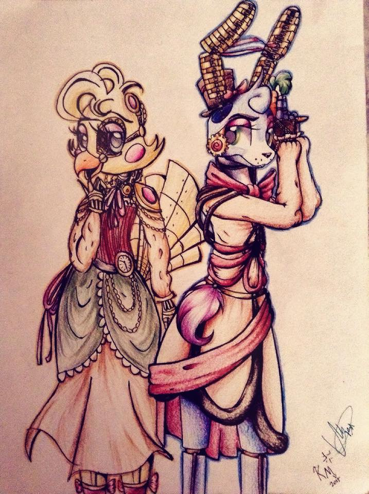Steampunk concepts toy chica and toy bonnie by giumbreon4ever on