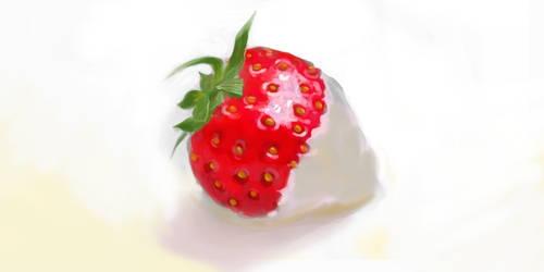 Strawberry in white by Illu-sab