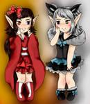 Chibi Commission:  Saya and Yukie