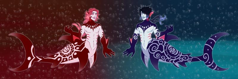 Vampire Shark Merman|Blood and Blue Moon|- OPEN -