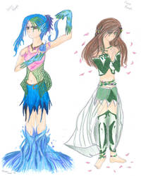 Water and Forest Nymphs by LuvinAniManga