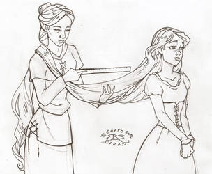 Witch Measuring Rapunzel Nabunzel's Hair - Paper by Efrayn