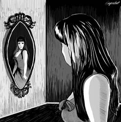 Inktober Day 6: Girl in the Mirror by Suyesil