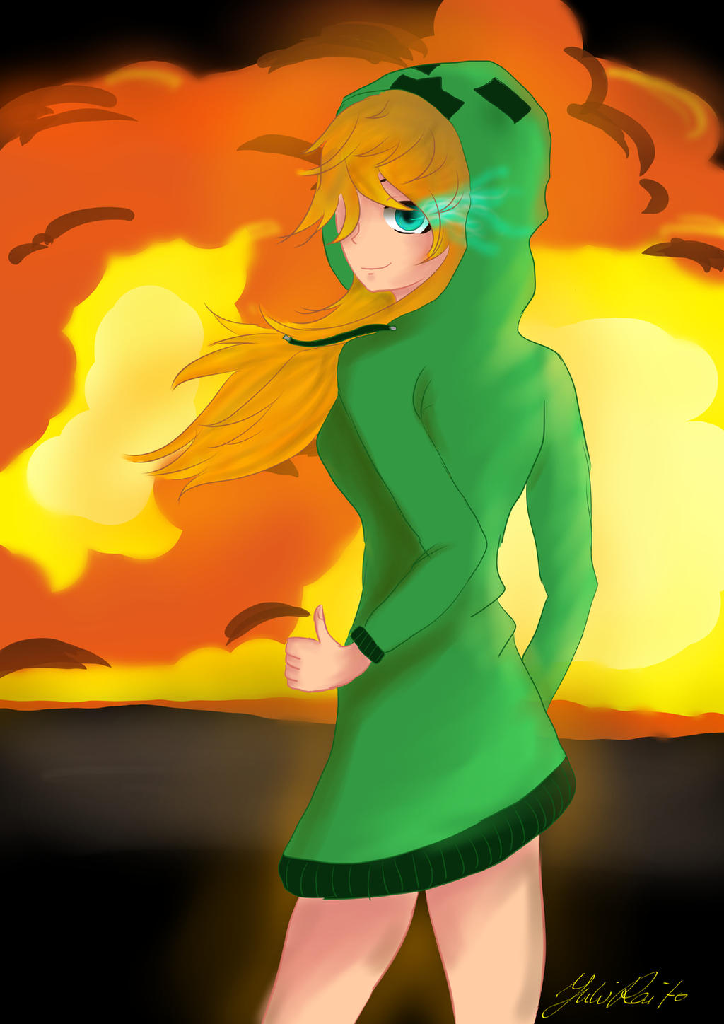 Minecraft creeper girl speedpainting drawing by - Creeper anime girl ...