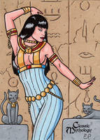 Bastet Sketch Card - Classic Mythology by ElainePerna