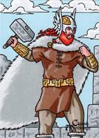 Thor Sketch Card - Classic Mythology by ElainePerna