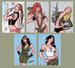 Bombshells - Sketch Cards 1 by ElainePerna