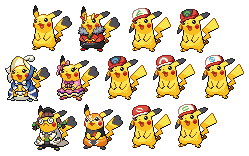 Pikachu forms by leparagon