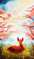 Lying fawn in spring
