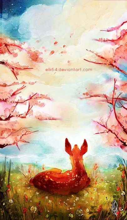 Lying fawn in spring by ELK64