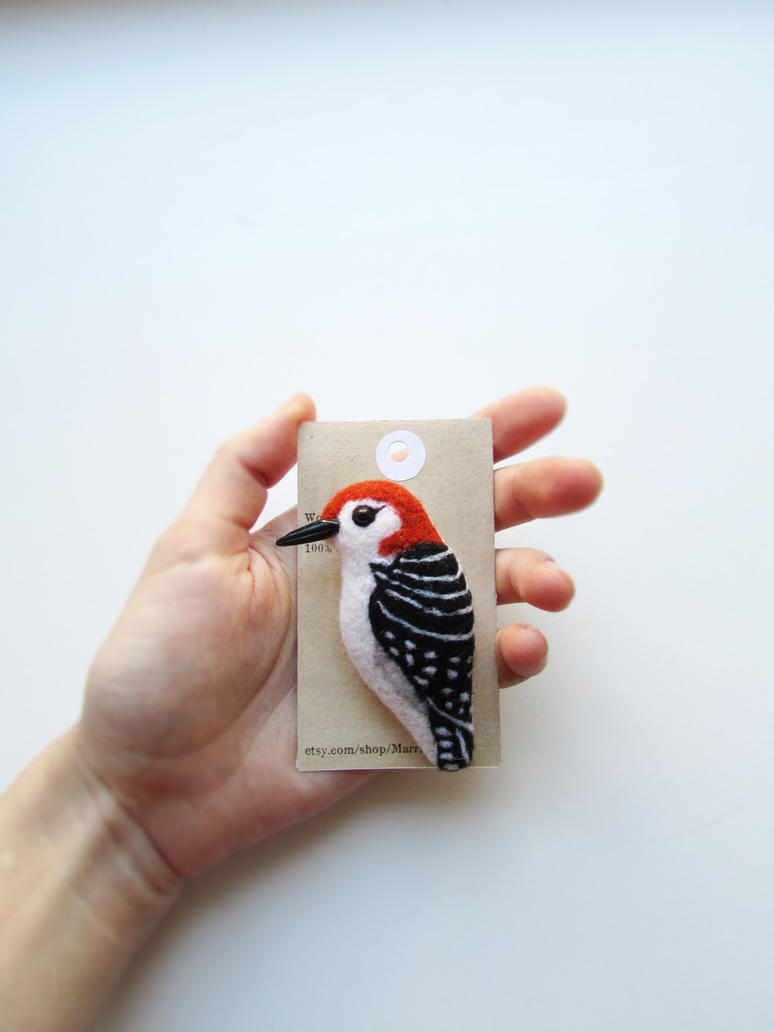 Woodpecker Needle Felted Brooch by mar-rie