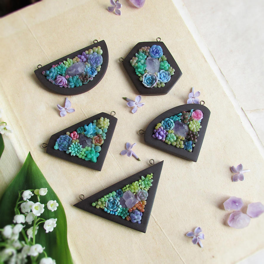 Succulents and Crystals Pendants by mar-rie