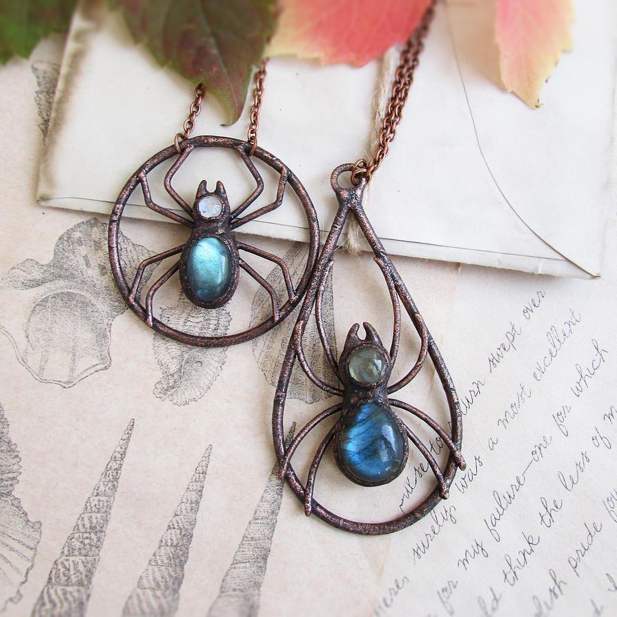 Halloween Spider Necklaces by MarrieKo