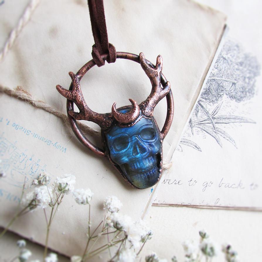 Horned Skull Crystal Necklace by MarrieKo