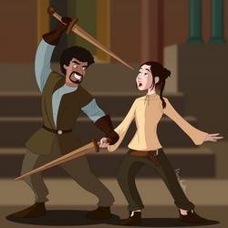 Game of Thrones - Syrio Forel + Arya Stark by Flachzange