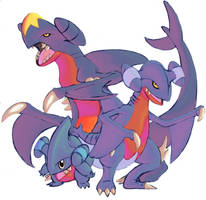 Garchomp, Gible and Gabite by DragonicDarkness