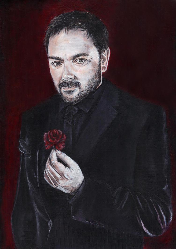 Crowley (Mark Sheppard) Acrylic Painting by Gothscifigirl