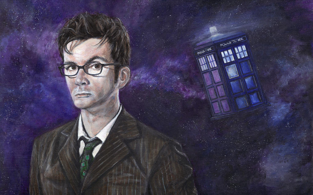 David Tennant Doctor Who Acrylic Painting by Gothscifigirl