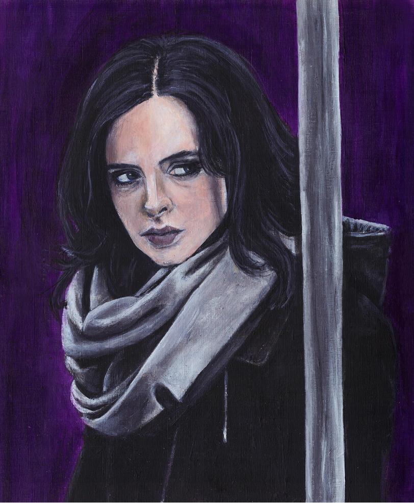 Jessica Jones Krysten Ritter Acrylic Painting by Gothscifigirl