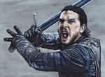 Jon Snow Game of Thrones Acrylic Painting by Gothscifigirl