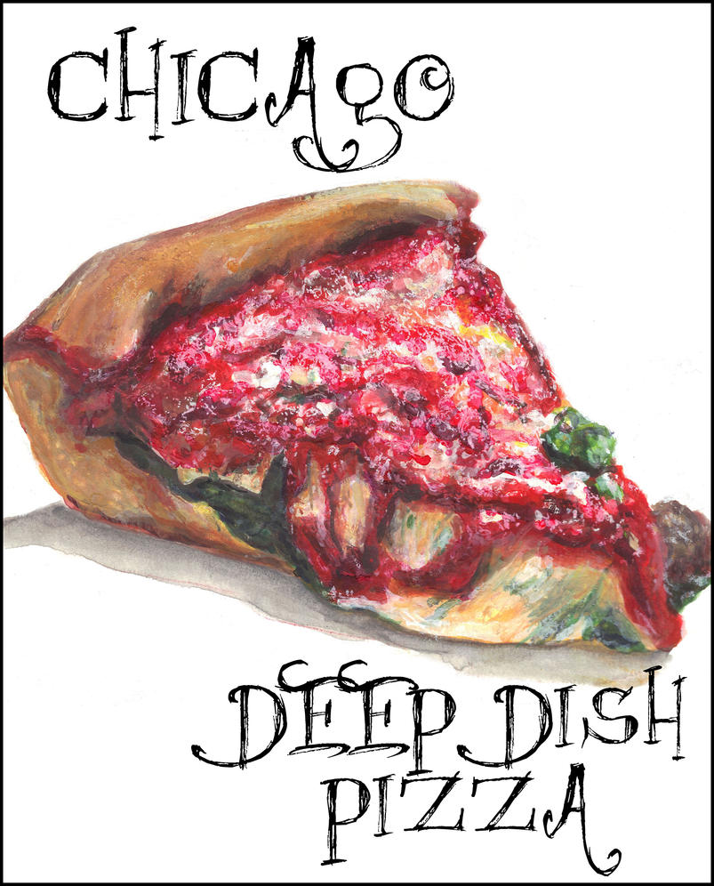 Chicago Deep Dish Pizza Slice Watercolor by Gothscifigirl