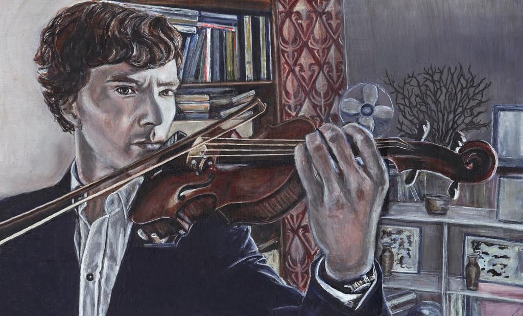 Benedict Cumberbatch as Sherlock Acrylic Painting by Gothscifigirl