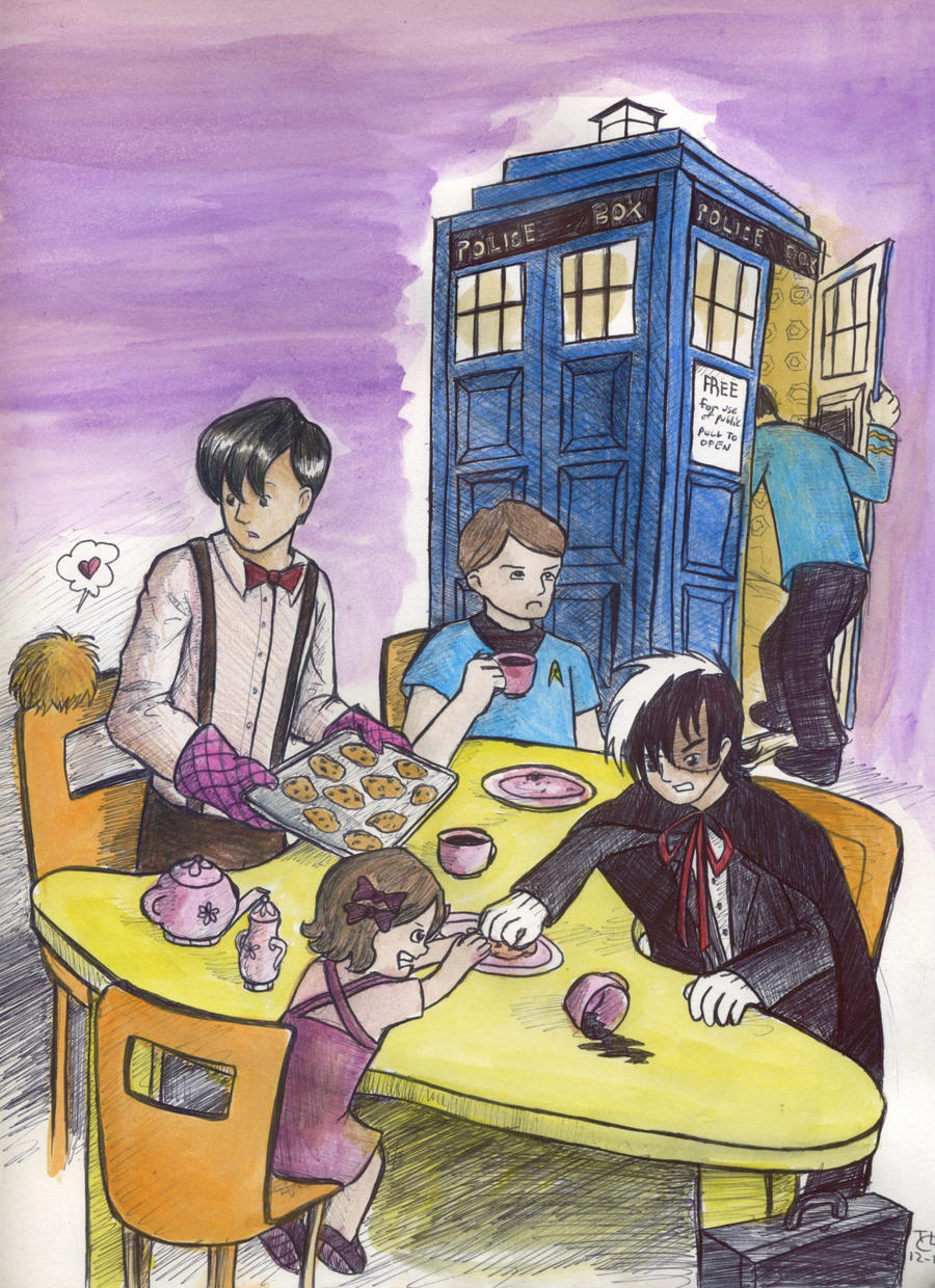 Three Doctors have a Tea Party by tomato-bird