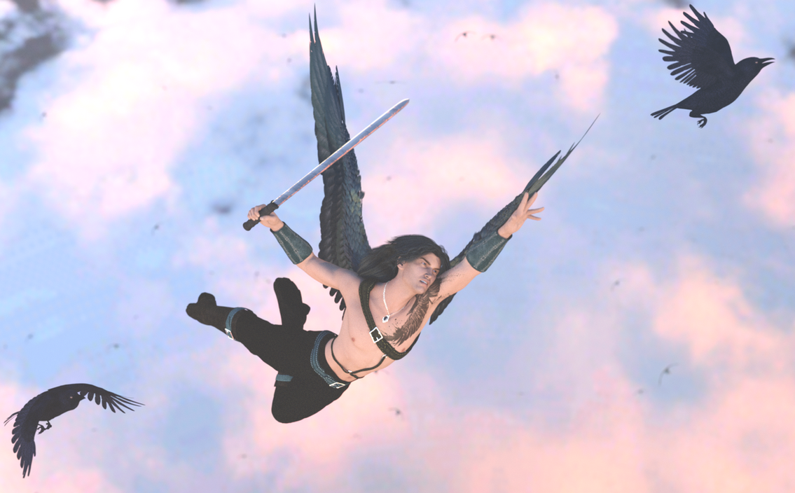 Crows in Flight by DiannaSilver
