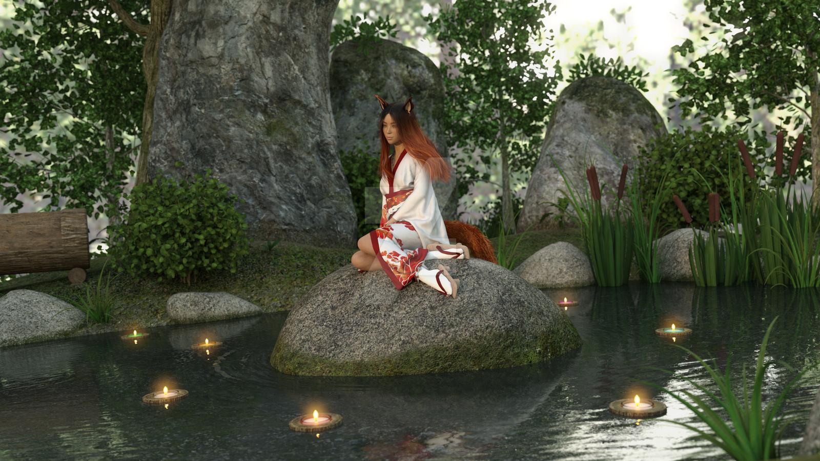 Kitsune Maiden on Rock by DiannaSilver