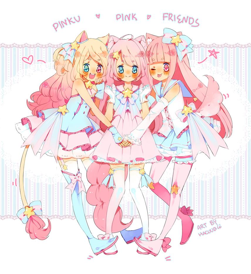 Pinku Pink Friends by Hacuubii