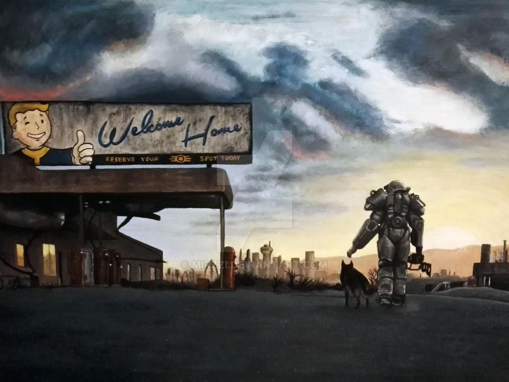 Welcome home fallout oil painting by mirzzi on deviantart for Fallout 4 canvas painting