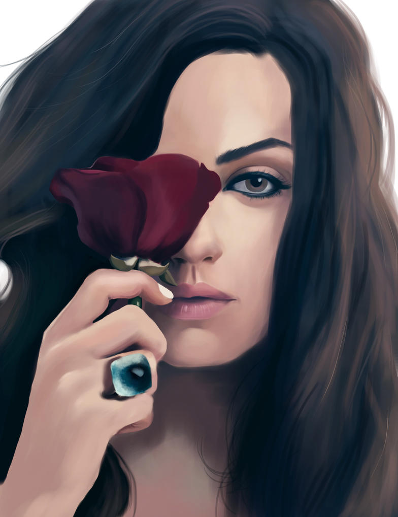 Mila Kunis with Rose by HannahWhoDraws