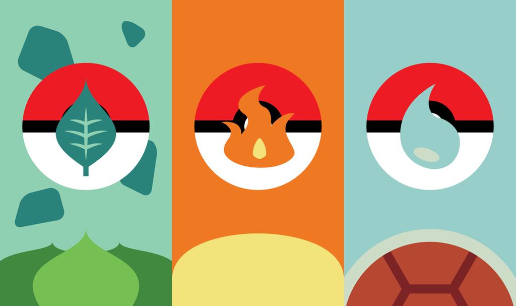 Pokemon Starters Phone Background by UrLogicFails