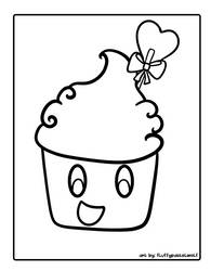 Curly Sucker Cupcake Coloring Page