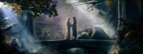 Aragorn and arwen by Artofjuhani