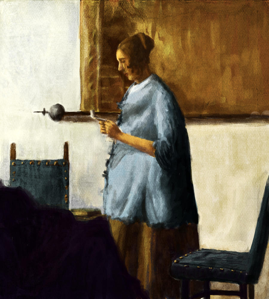 Woman In A Blue Dress Painting By Vermeer