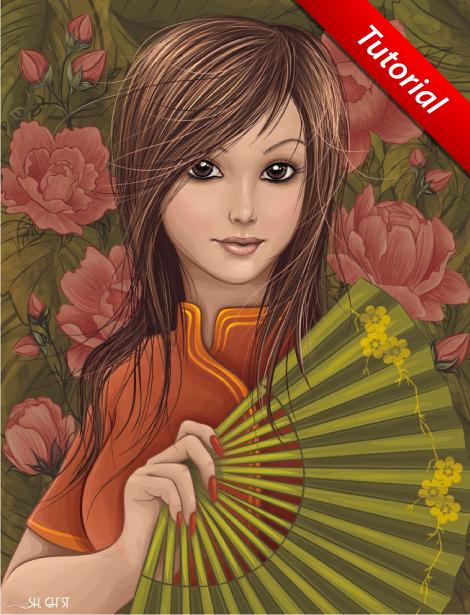 Girl with a Fan by lazunov