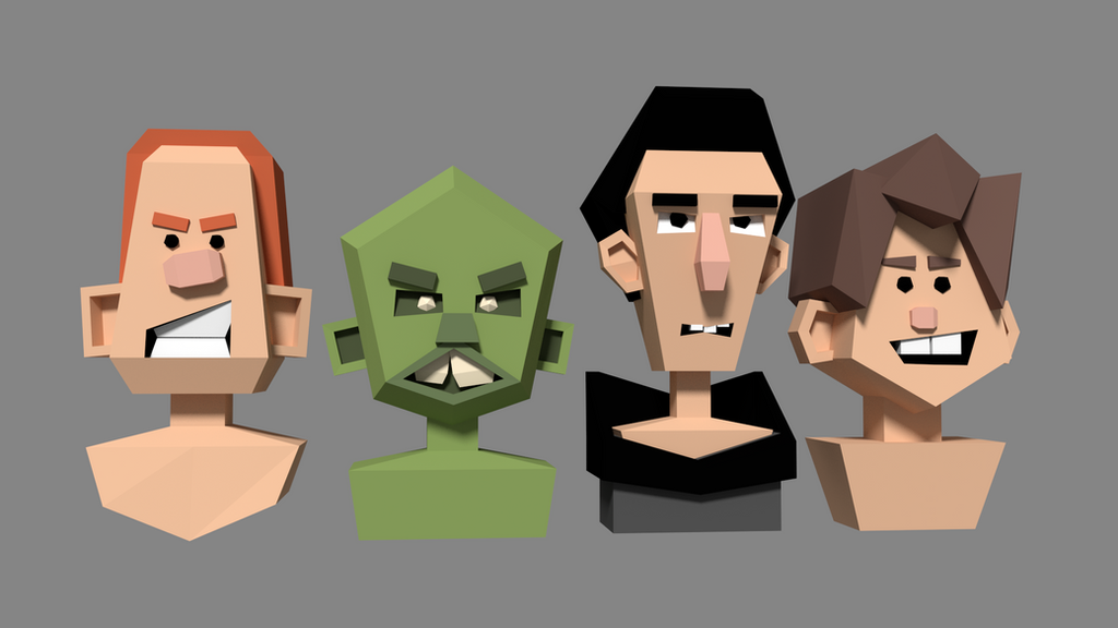 Cartoon Character Modeling Blender : Experimental lowpoly head studies by mezaka on deviantart