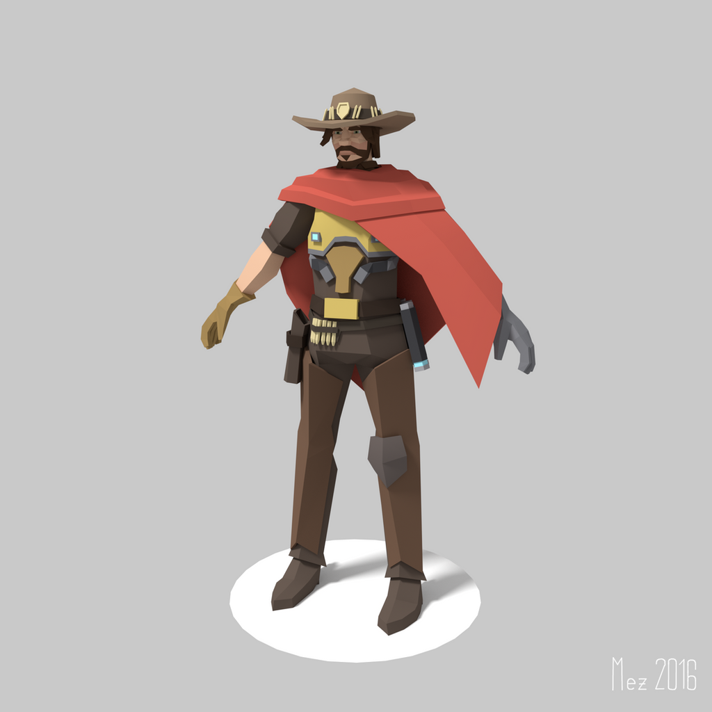 Character Design Wallpaper : Mccree overwatch lowpoly by mezaka on deviantart