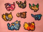 Eeveelutions - Pokemon - Perler Bead Fanart