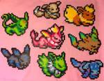 Eeveelutions Shiny - Pokemon - Perler Bead Fanart