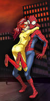 Firestar hugs Spider-man by Mythical-Mommy