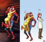Firestar hugs Spider-man 2