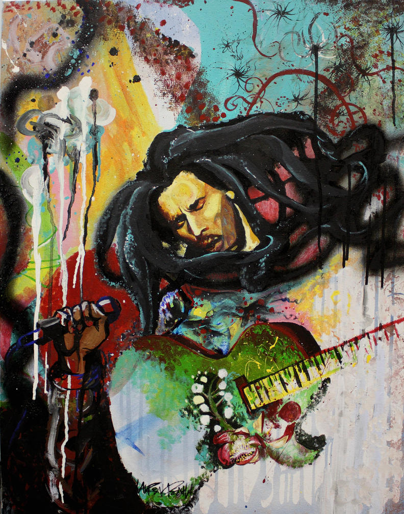 Bob marley by cupcakedashiki on deviantart for Bob marley mural